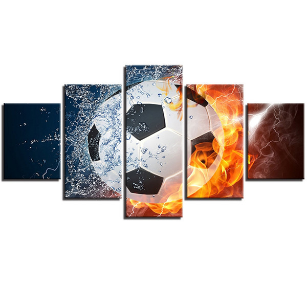 Art Ice and Fire Football HD Prints Paintings Modular Canvas Pictures Hotel Decor For Bedroom Wall Art Unframed 5 Pieces Gifts