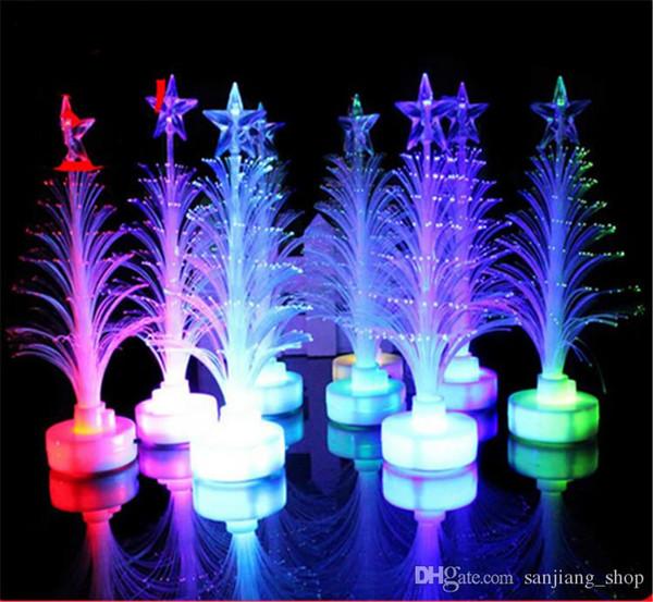 Decorazioni albero di Natale in fibra ottica luce albero di Natale lampeggiante con stelle colorate LED flash bar partito puntelli regali giocattoli caldi