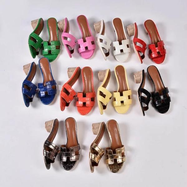 2019 Tacco alto di marca di cavallo Sandali di marca Sandali eleganti 35-41 Sandalo da donna Marca di cavallo con sandali di moda donna arancione scatola Mini pantofole
