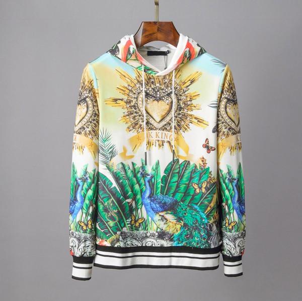 19fw Primera marca para hombre de la camiseta de las mujeres del pavo real de la impresión floral sudaderas con capucha de manga larga con cordón Pullover Hiphop calle alta de lujo B101098L