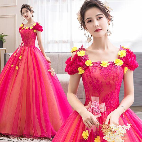 Vestido de bola de pétalos amarillos de flor rosa fuerte 100% real princesa real Vestido victoriano renacentista medieval / escenario / estudio /