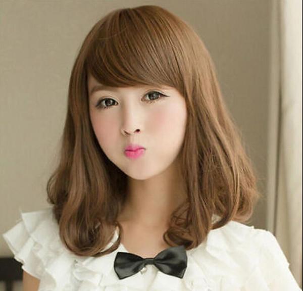 WIG free shipping Fashion Womens Lady's Medium Long Wavy Curly Hair Lolita Cosplay Full Wigs Brown