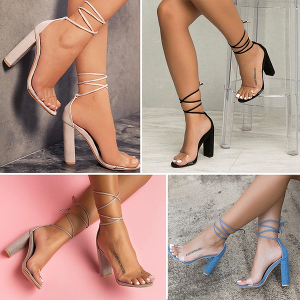 2018 Elegant and noble women's shoes Explosive strappy high-heeled sandals Sexy transparent Large size High heels Open Toes Thick pumps