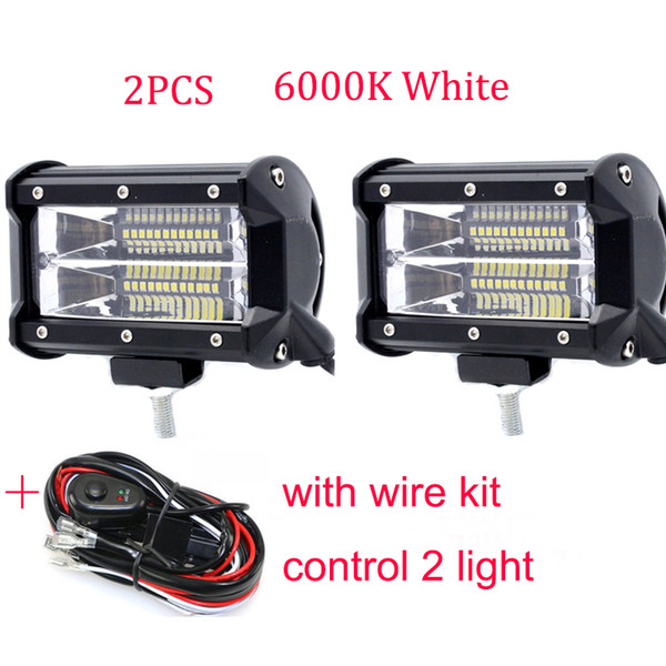 72W LED WORK LIGHT with Wire Kit 6000K Super Bright 4300k Yellow Light For CAR Motorcycle AUTO SUV ATV Offroad Road Headlamp