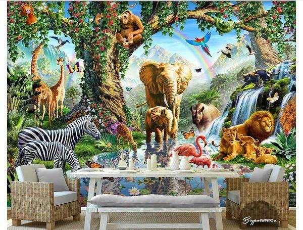 Wholesale-Custom 3d silk photo mural wallpaper Big tree under elephant zebra lion river animal world children's room background wall sticker