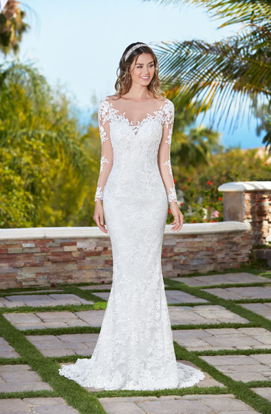 Long Sleeve Lace Wedding Dresses Mermaid Boat Neck Bridal Gowns Sheer Illusion Plus Size Formal Dress Gown See Through