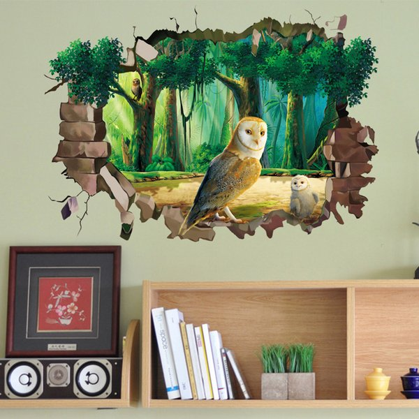 Hot New Removable Waterproof Cartoon Animal Owl 3D View Wall Sticker For Kids Rooms Cute Wall Art Vinyl Decal Living Room Home Decoration