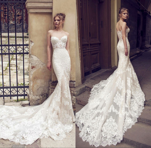 Ivory Backless Lace Mermaid Wedding Dresses 2019 New Sexy Fishtail Wedding Gown Bride Dress Vestido De Noiva Robe De Mariage