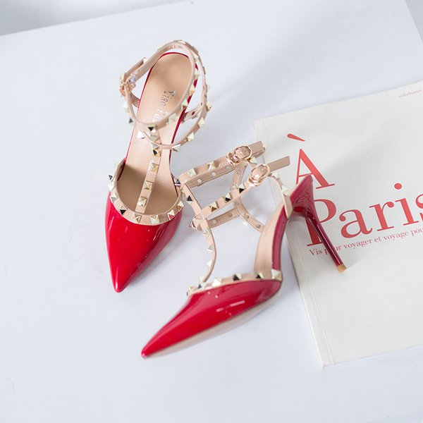 dress shoes women high heels party fashion rivets girls sexy pointed toe shoes buckle platform pumps wedding shoes four colors