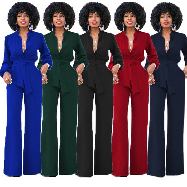 Long Sleeve Elegant Autumn Winter Spring Womens Tunic Jumpsuit Sexy V-neck Wide Leg Solid Belt Pocket Solid Overalls Long Pants