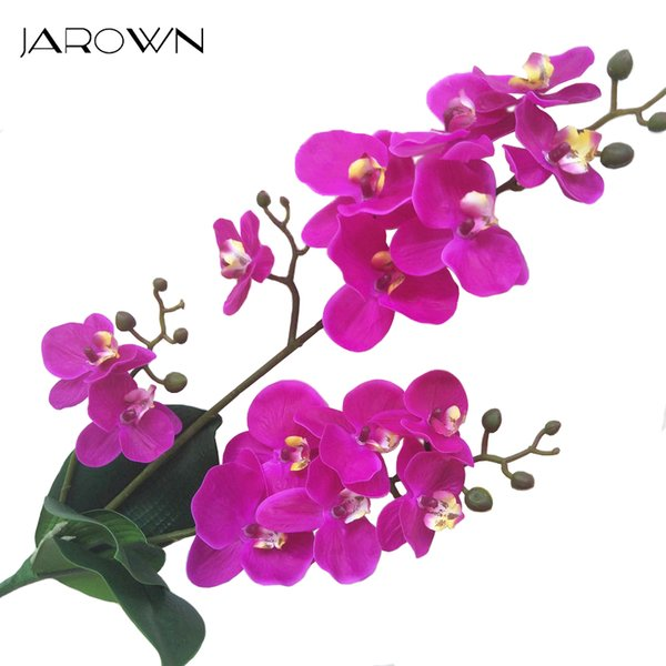 heap Artificial & Dried Flowers JAROWN Artificial Real Touch Latex Butterfly Orchid Flores 3 Branch 15 Head Band Leaf Fake Flower Wed...