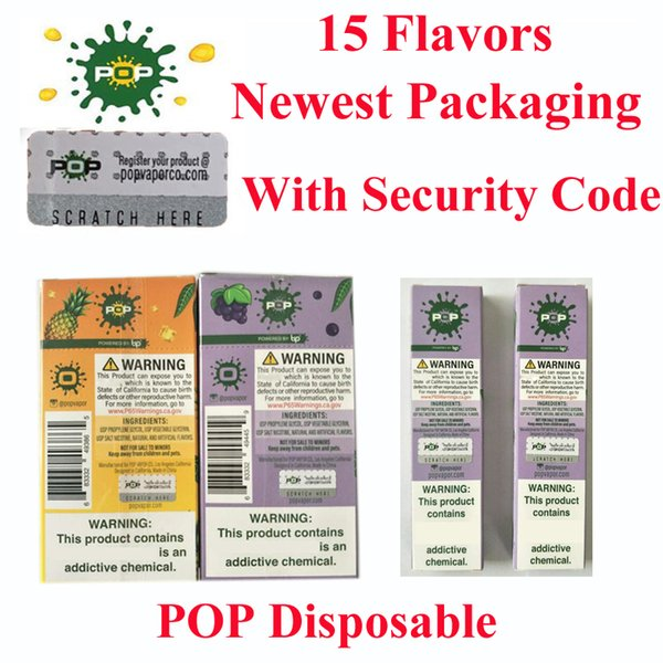 top popular Top quality Newest packaging pop disposable device 18 flavors with security code in 280mah battery 1.2ML Vape vs bidi puff plus disposable 2020