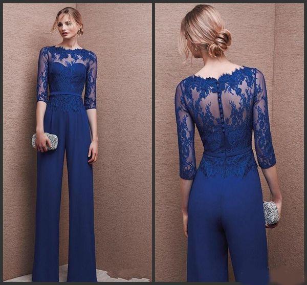 2019 Azul Royal Plus Size Mãe Da Noiva Calça Terno 3/4 Lace Sleeve Mãe Macacão Chiffon Cocktail Party Vestidos de Noite Custom Made