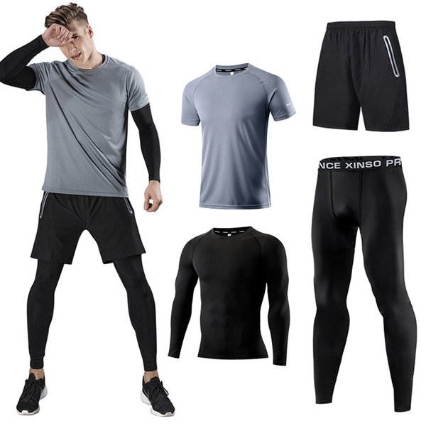 top popular Men's Sports Running Set (Pack of 4) Athletic Shirt+Short Compression Shirt+Pants Skin quick-drying Tracksuit Gym Suits 2019