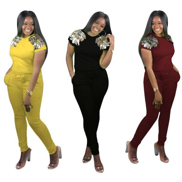 Kadın Yaz Payetli 2 Parça Set Eşofman Kazak Tshirt ve Bodycon Uzun Pantolon Eşleşen Takım Elbise Setleri kıyafetler Spor giymek
