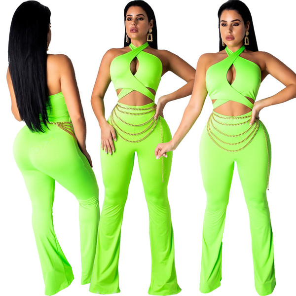Sexy Green Women Night Out Party Jumpsuits Rompers Halter Neck Hollow Out Bust Waist Backless Chains Belt Straight Long Pants Hot Sale