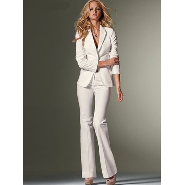 Custom Women Slim Fit Pant Suits Formal White Office Lady One Button Work Business Career Suit Top Selling OL suits Jacket+Pants