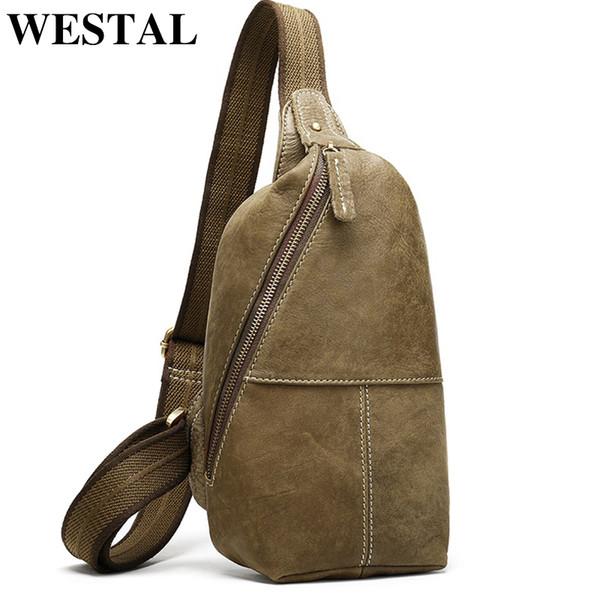 Men/'s Vintage Genuine Leather Shoulder Bag Sling Bag Chest Brown Backpacks
