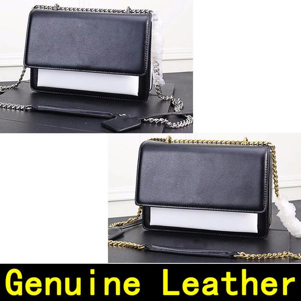 Saint Black White Match Genuine Leather Designer Handbags high quality Luxury Handbags Original Gold chain Silver chain Women Shoulder Bags
