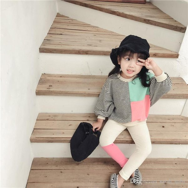 Spring Autumn New Korean Children's Wear Girls Single-sided Contrast Trousers Baby Cotton Wear Leggings Tights Baby's Kids Long Pa