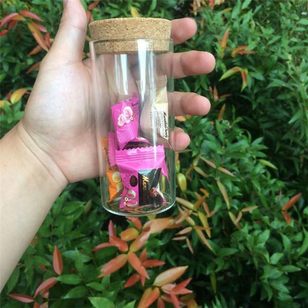 230ml Glass Saffron Large Jars Corks Widemouth Container Bottles Food Jars Saffron Transparent Clear Empty Bottles 12pcs/lot