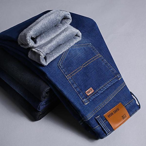 Niza Pop Invierno Espesar Elasticidad Slim Fit Denim Pantalones vaqueros de negocios Dos diseños Fleece o sin vellón Jean Negro Azul 29 40