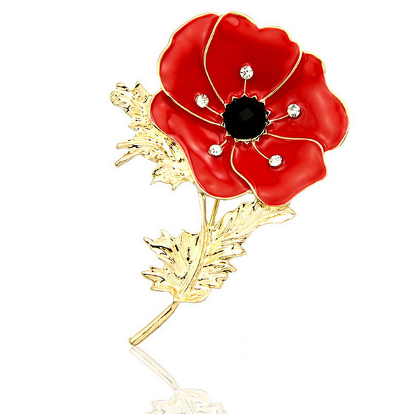Hot Sale Gold Tone Red Enamel Poppy Brooch UK Fashion Crystal Diamante Poppy Flower Pin Brooches DHL Free Shipping