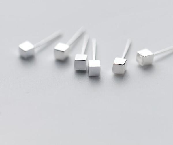 1 paio da 3,5 mm piccolo, da uomo REAL da donna. Orecchini a perno geometrici in argento sterling 925 cubo quadrato GTLE2234
