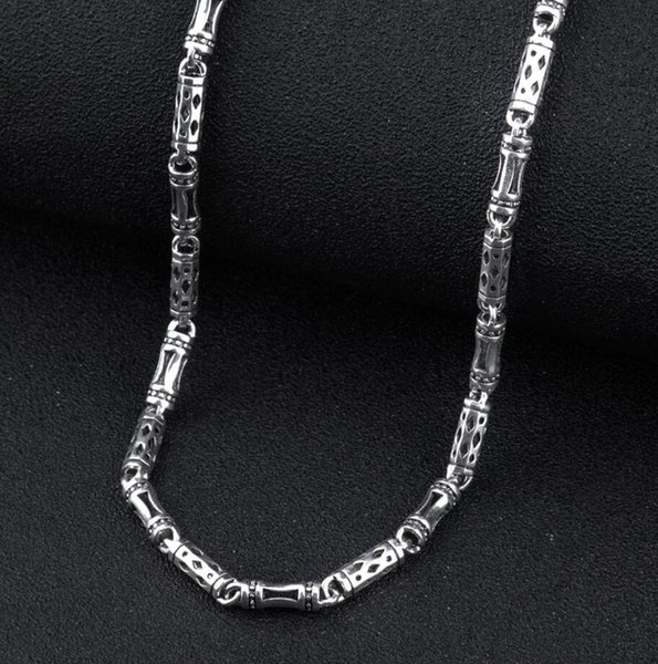 925 Sterling Silver Men's Long Thick Cross Link Chain Necklace Retro Fashion Thai Silver Jewelry (hy) J190530