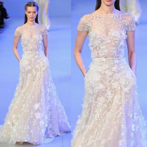 Elie Saab Full Length Evening Pageant Dresses with Sleeve 2019 Modest Jewel Neck 3D Floral Lace Detail Occasion Prom Party Formal Dress