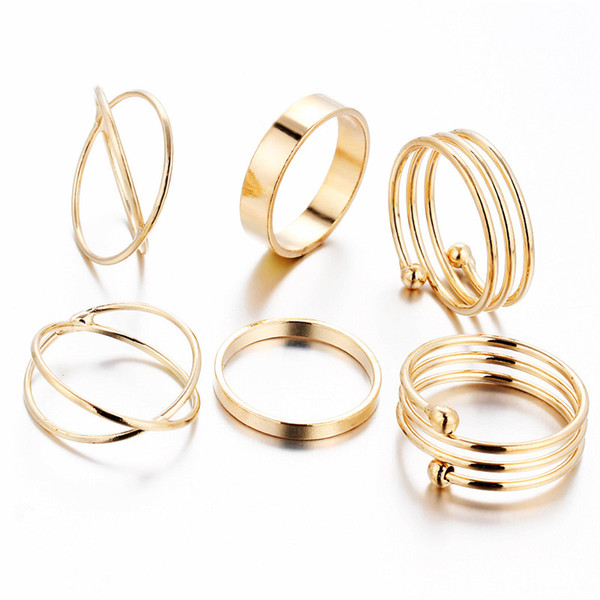 top popular Hot new 6pcs set Gold Ring Set Combine Joint Ring Band Ring Toes Rings for Women Fashion Jewelry WCW168 2020