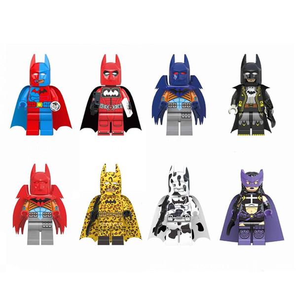 Leopardo Batman Blocos de Construção vestido de noite Tijolos Bloco Quebra-cabeças Figura Vingadores Vermelho Dupla Face Caçadora Vaca primária Deadpool Homem Morcego
