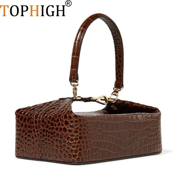 TOPHIGH Crocodile Pattern Box Bag Women Leather Handbag Vintage Top-handle Lady Clut Purse Clutch Luxury Wallet Evening Bag F154