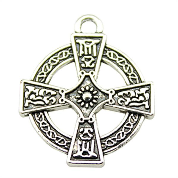 50 pcs encantos transversais de prata antigo cruz rodada encantos de prata antiga jóias fazendo acessórios atacado 20x23mm