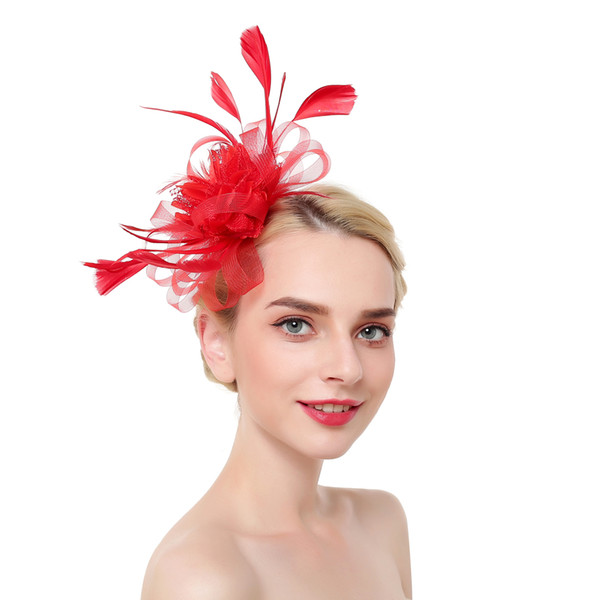 Feathers Tulle Beaded Wedding Hats 2019 Flower Shape Wedding Accessories Girls Pageant Party Hats pamelas sombreros bodas