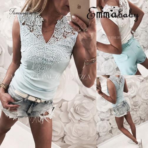 Sommer Frauen Tops Ladys Sommer-T-Shirt Ärmel Causul aushöhlen mit V-Ausschnitt-Spitze-Behälter-T-Shirt