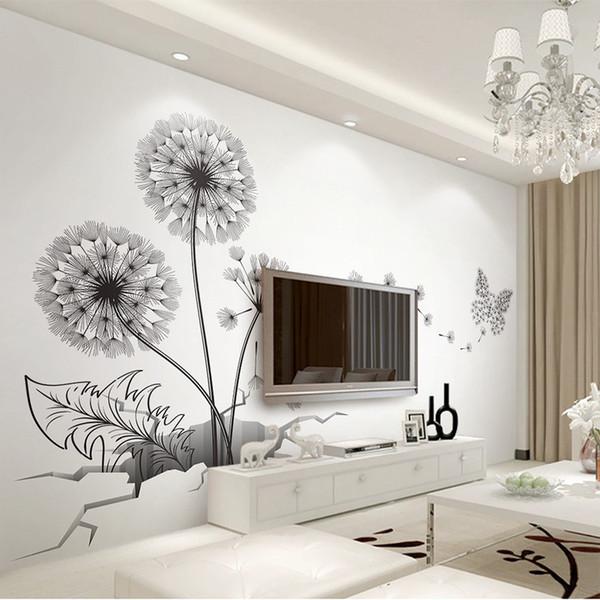 Acquista Black Dandelion Stickers Murali DIY Broken Wall Plant Vinile  Adesivi Decorativi Soggiorno Camera Da Letto Decorazione Adesivi Murali Di  ...