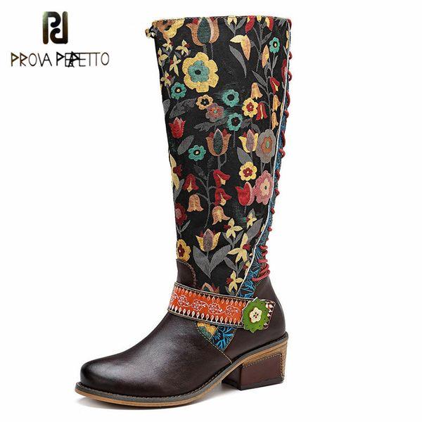 Prova perfetto estilo étnico moda mujer botas hasta la rodilla moda suave de cuero bordado ocasional retro botas largas flor clásica