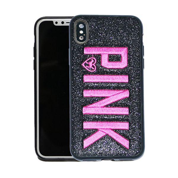 Luxo bordado tpu rosa carta case para iphone xr x xs max 8 brilho de metal quadrado casos de telefone para iphone oppo vivo