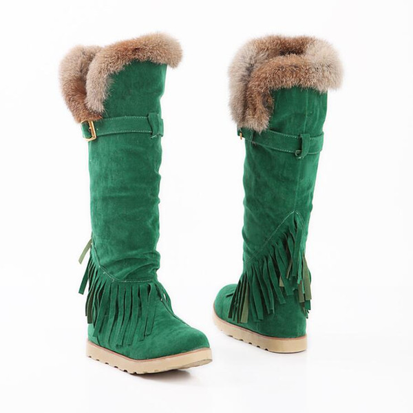 slim long boots sexy knee high suede women snow boots tassel womens fashion winter thigh high boots shoes flat heels woman zx-871