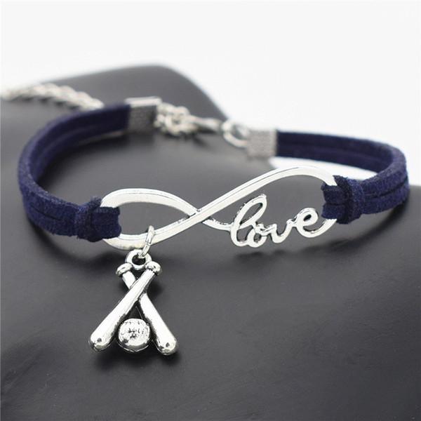 10 Color Fashion Dark Navy Leather Rope Wrap Bracelet For Women Men Infinity Love Cross 3D Baseball Bat Sports Charm Bangles Couples Jewelry
