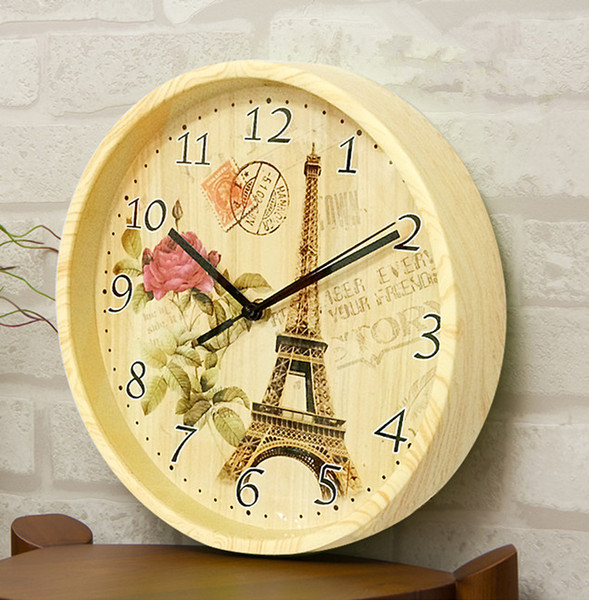 Wood Wall Clocks Retro Round Paris Eiffel Tower Digital Needle Clock Fashion Home Restaurant Decoration Timepiece Top Quality