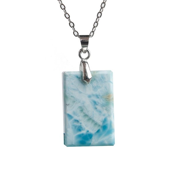 Precious Blue Water Pattern Natural Larimar Gems Stone Rectangle Bead Necklace Pendant Women Men 22*15*5mm