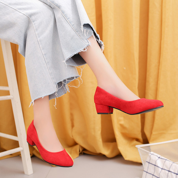 2019 Dress autumn new round head thick with single shoes suede shallow mouth women's professional low-heeled work shoes