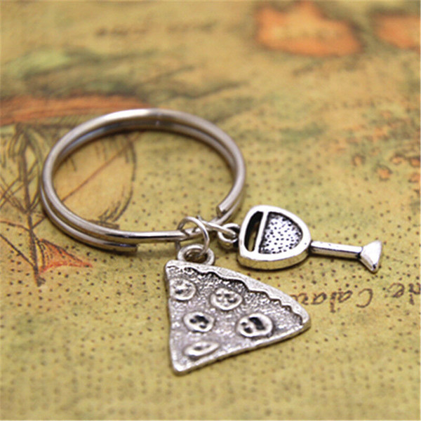 Ancient Silver Pizza Red Wine Glass Charm Keychain Keyring Luxury Designer Jewelry Women Men Personality Creative Best Friend Holiday Gift