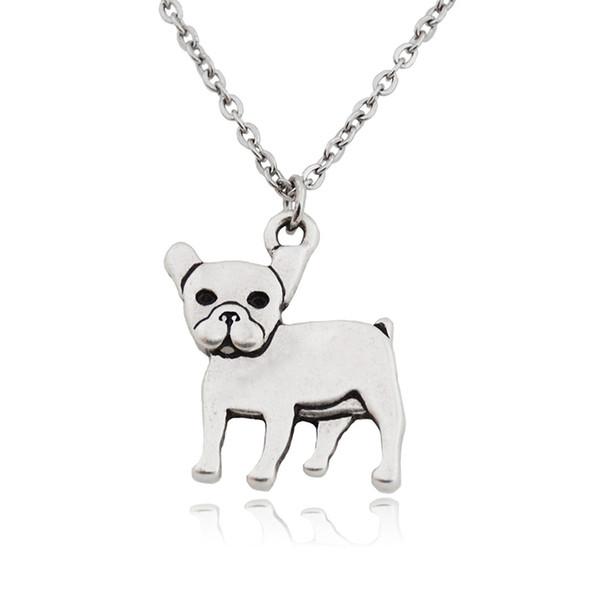 Antigo Francês Bulldog Pingentes de Aço Inoxidável Cadeia Colar Homens Boho Colar Animal Declaração de Amor Colares Para As Mulheres Meninas Bijoux Femme