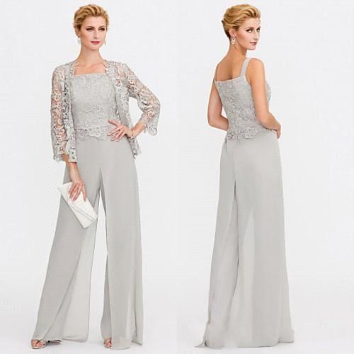 Düğün Olaylar Pantolon Suit Abiye Giyim BC0015 için Gelin Modelleri İki adet Dantel Ceketler Anneler Elbise Grey Anne