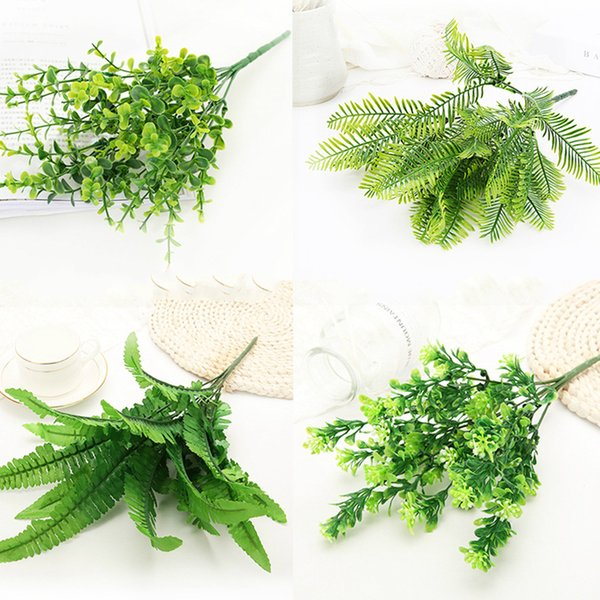 Artificial Plant Fake Plastic Leaf Garland Foliage Green Plant for Home Garden Wedding Party Decorations Flower arrangement