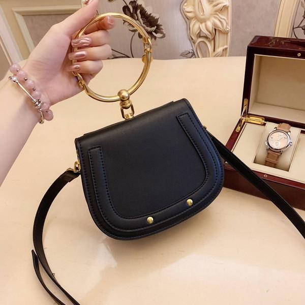 Nuevo diseñador de bolsos de lujo monederos Paquete de anillo de metal Sillín de metal bolsa de asa del nilo Bolsa de pulsera Mensajero de hombro Bolsos bandolera