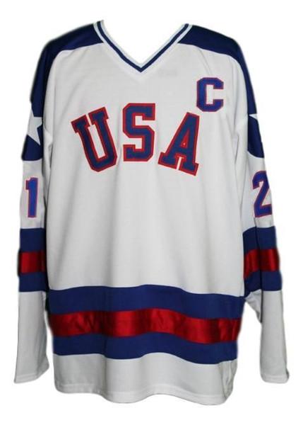 Equipo personalizado EE. UU. Miracle On Ice Hockey Jersey New White Eruzione Puntada personalizada cualquier número cualquier nombre Jersey de hockey para hombre XS-5XL